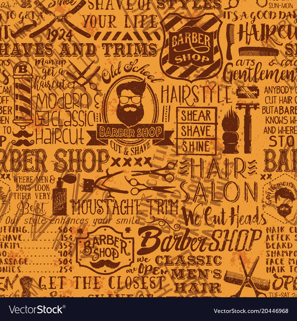 Barber Shop Elements And Icon Patchwork Background