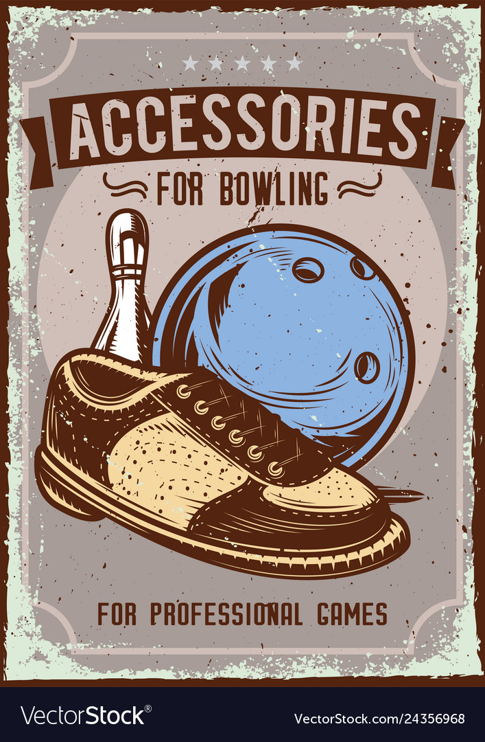Bowling accessories on dusty background