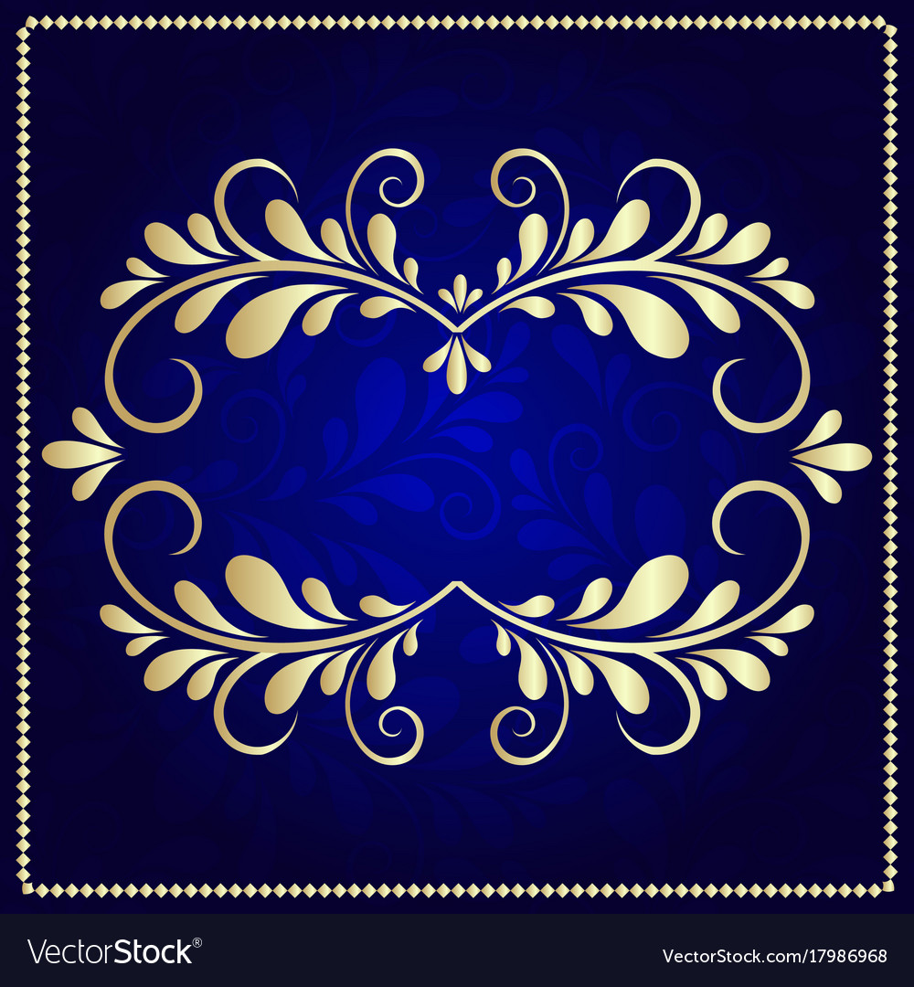 a337ef9bc808 Gold pattern frame on a dark blue background Vector Image