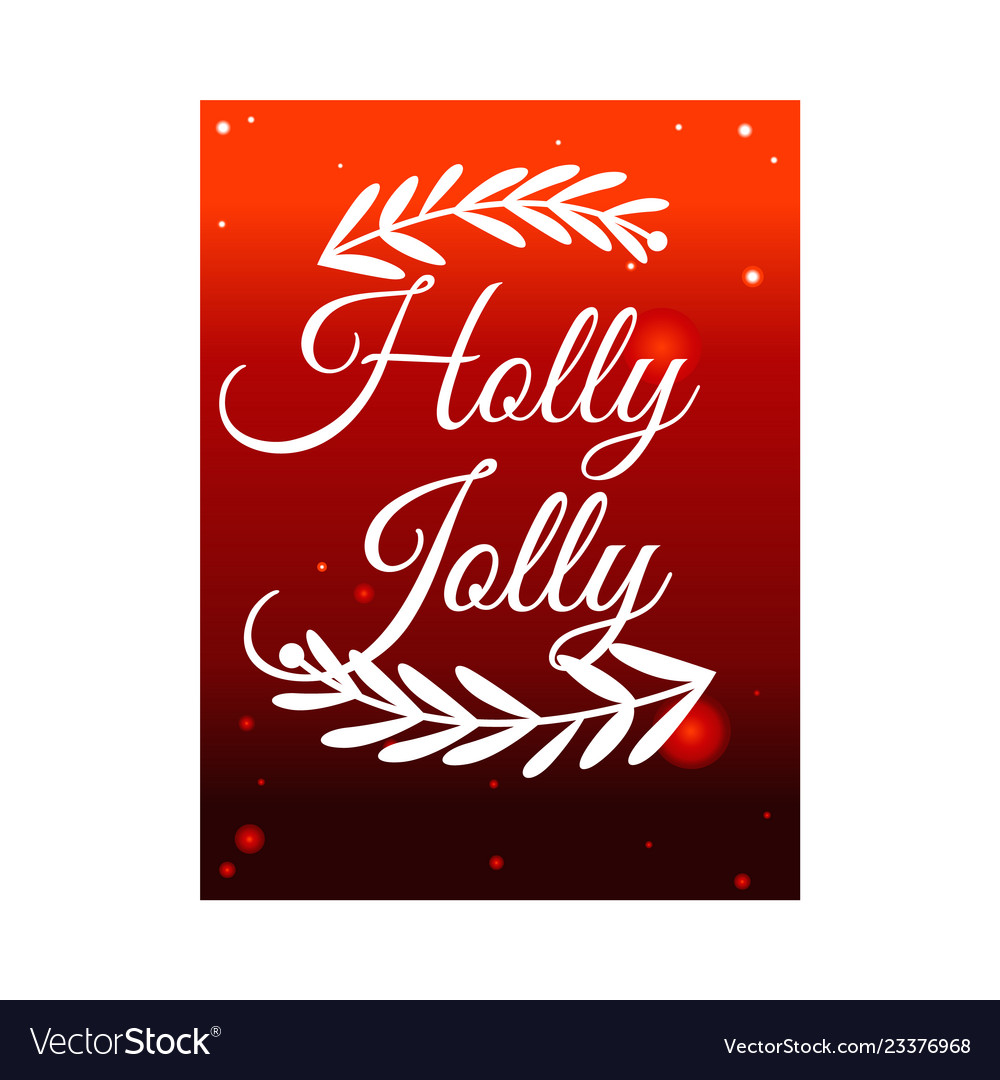Holly jolly lettering with spruce tree