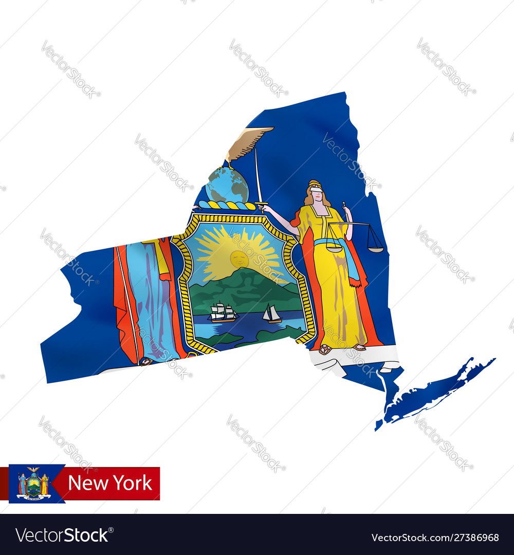 New york state map with waving flag us state
