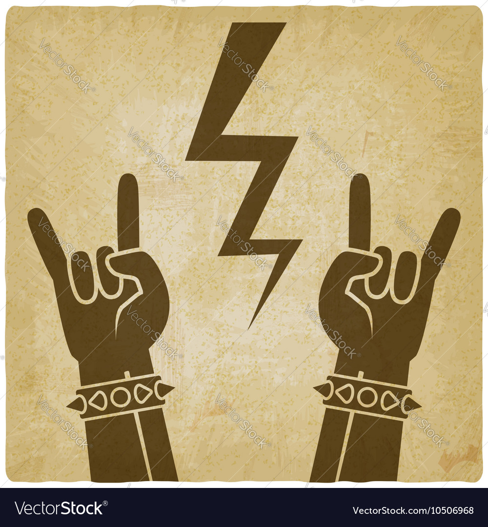 Rock and roll symbol old background concept of
