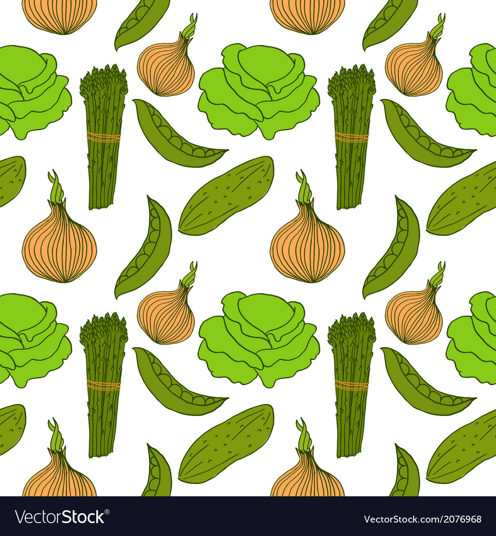 Seamless background with different vegetables