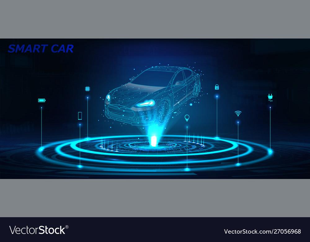 Smart car isometric hologram in hud style
