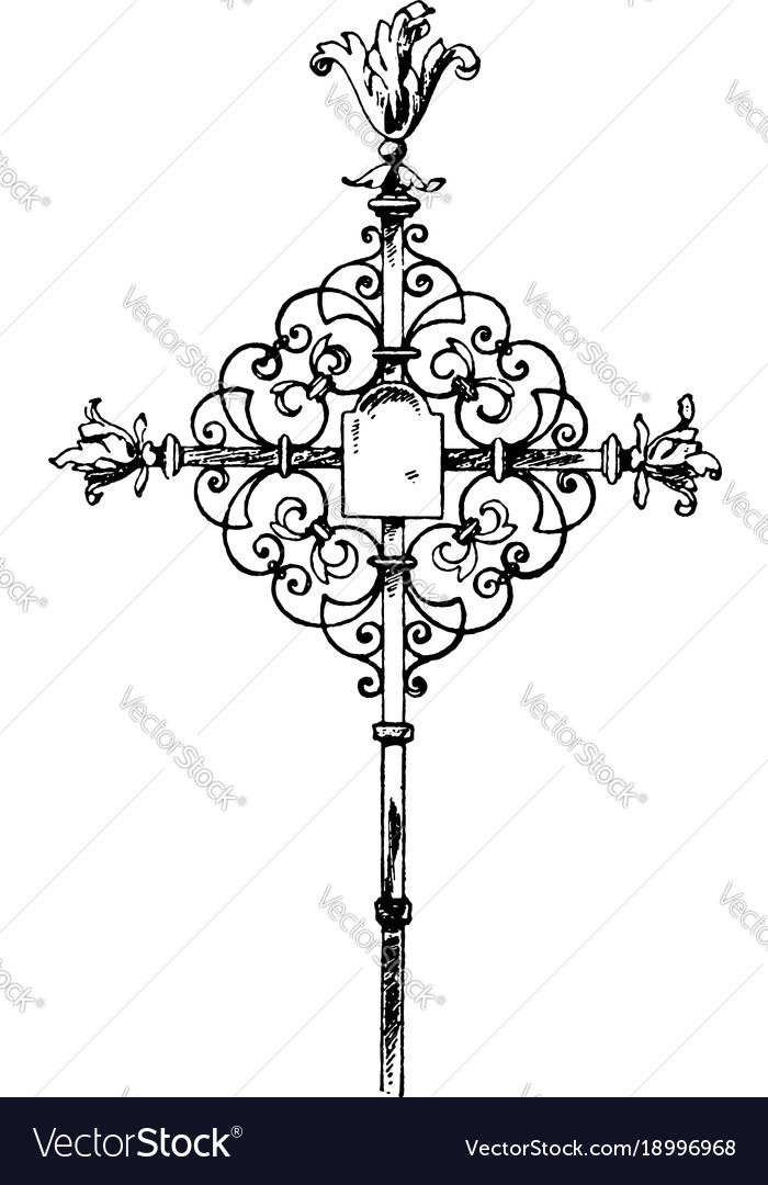 Wrought-iron tomb cross vintage