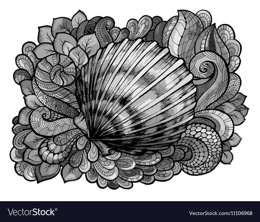 Zentangle stylized seashell line art colored in