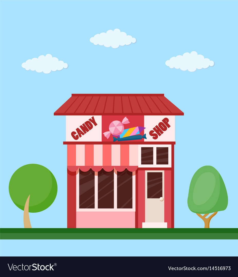 Candy shop front view flat icon vector image