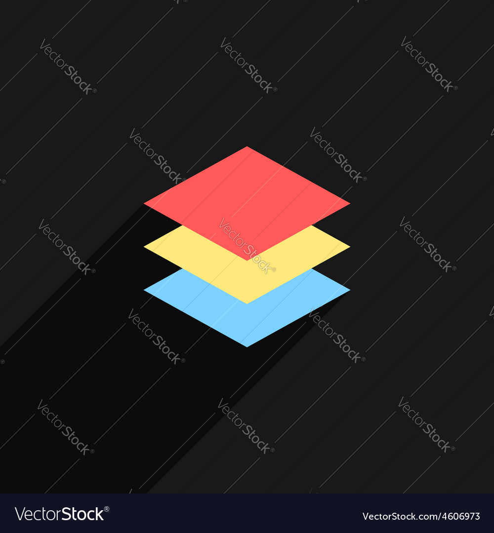 Colored layers icon with long shadow