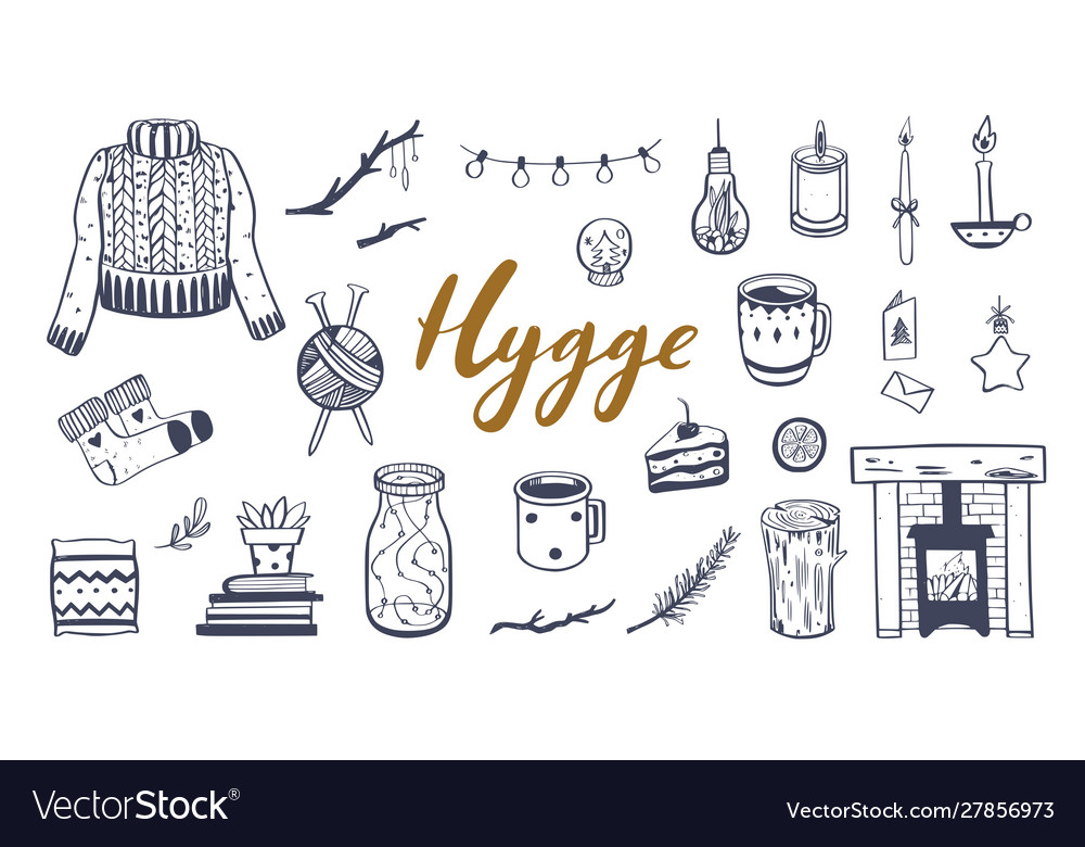 Danish lifestyle concept- hygge hand drawn