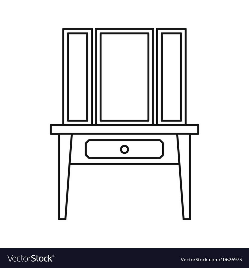 Dressing table with a mirror icon outline style vector image