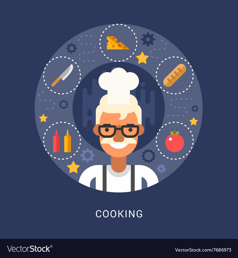 Food Icons and Objects in the Shape of Circle Chef