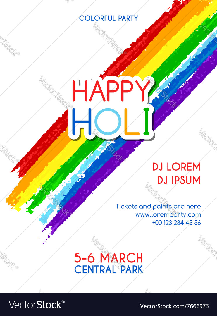 Happy Holi party invitation poster Royalty Free Vector Image