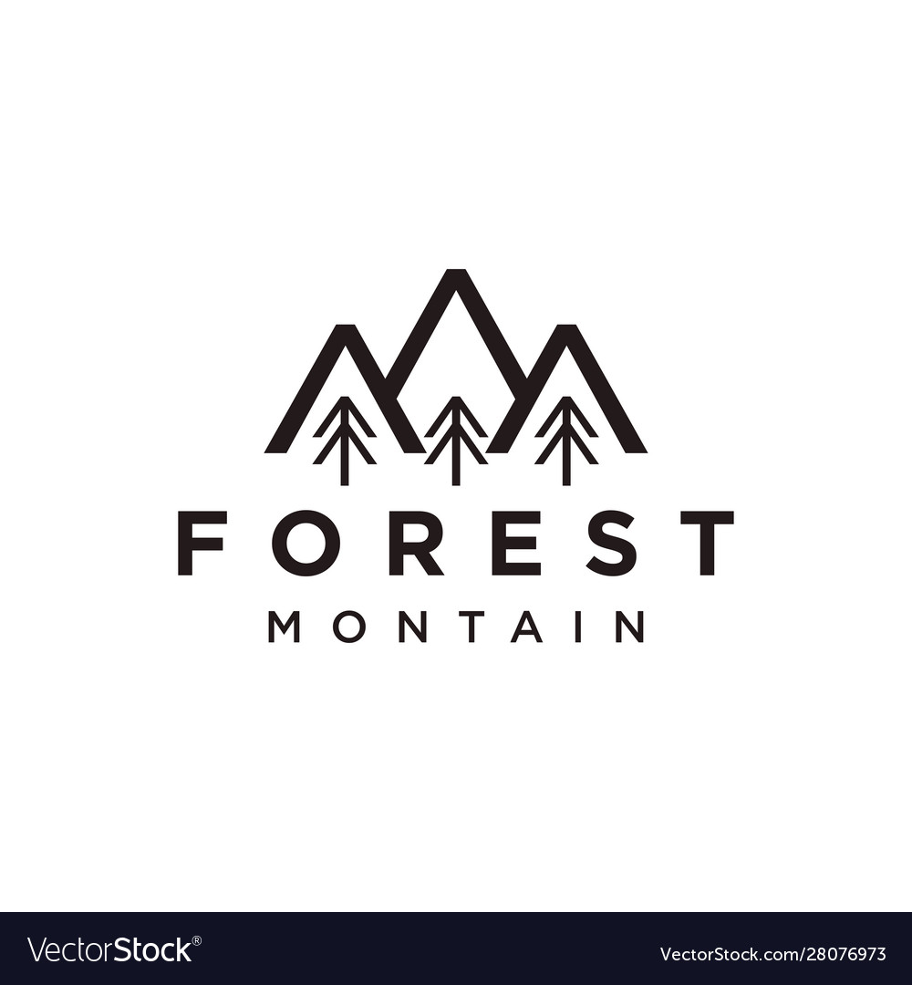 Mountain and forest line art logo icon style