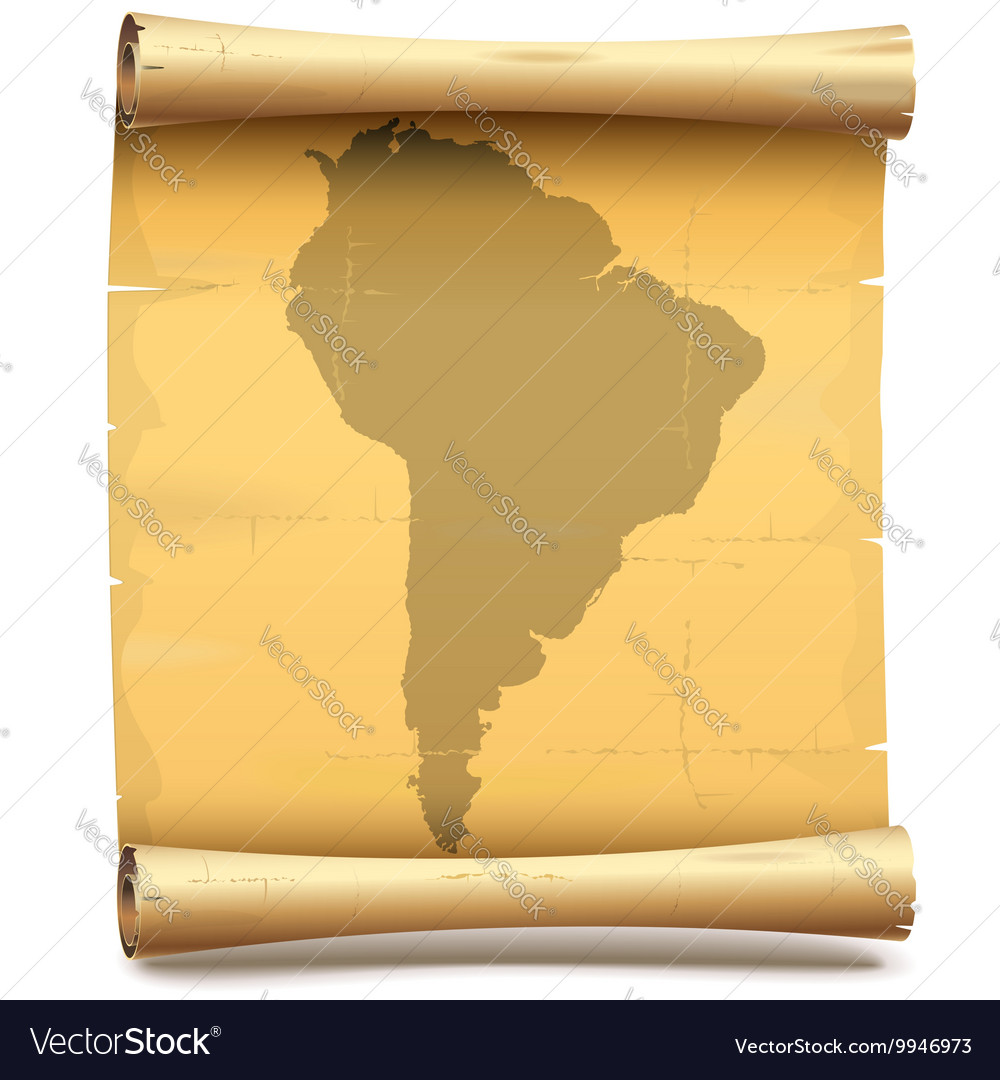 Paper Scroll with South America