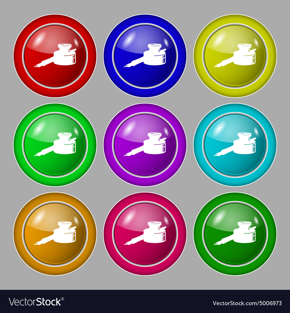 Pen and ink icon sign symbol on nine round vector image