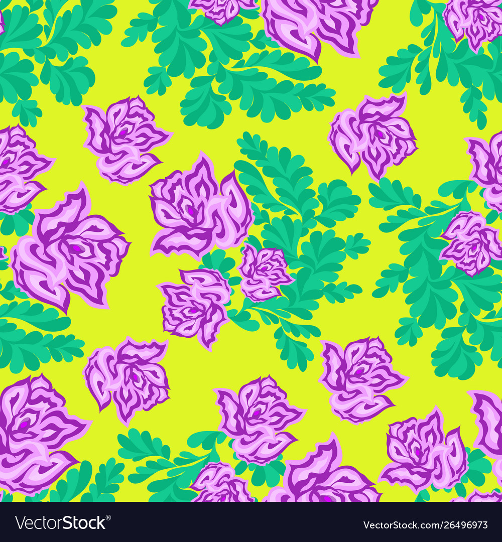 Pink roses on a yellow background seamless pattern
