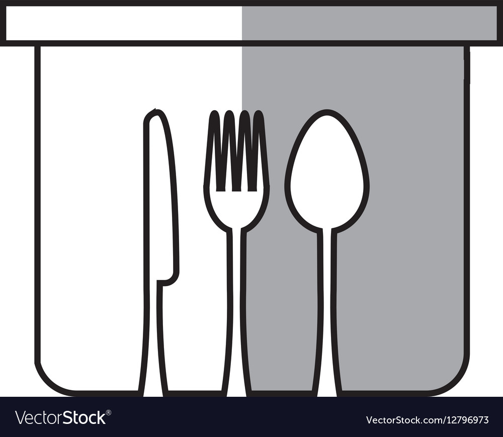 Pot fork spoon knife kitchen symbol linear