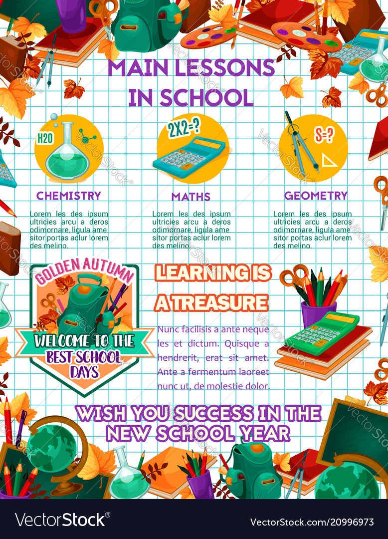 school science lessons education poster royalty free vector