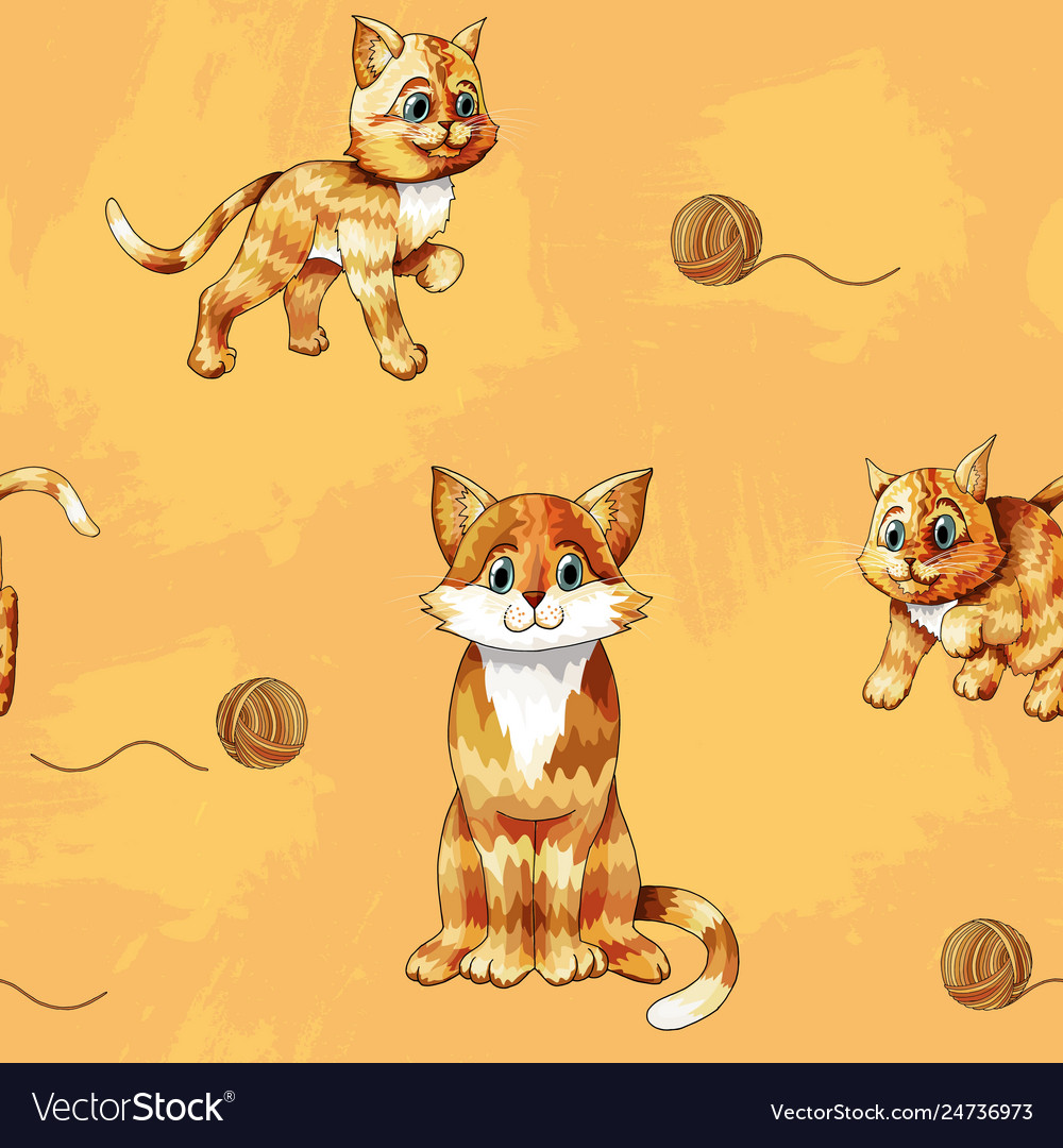Seamless pattern cartoon ginger cats on