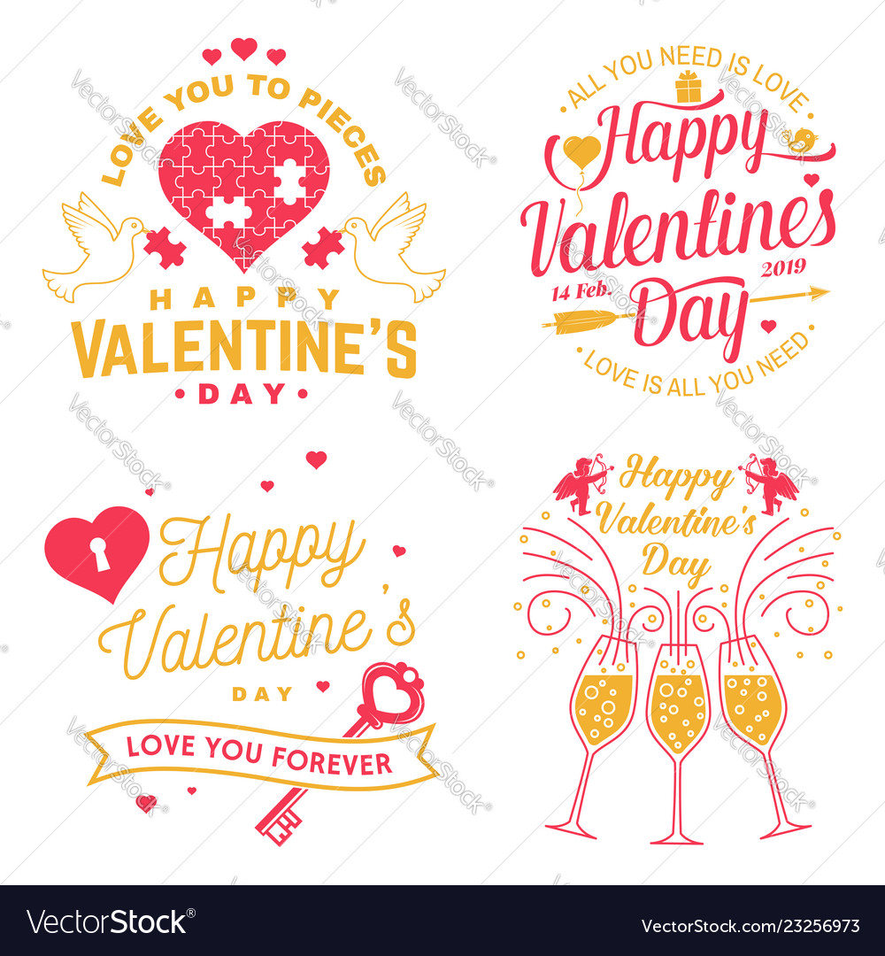 Set happy valentines day sign stamp card