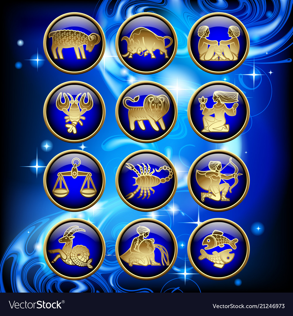 Set of glossy round zodiac icons with gold linear vector image