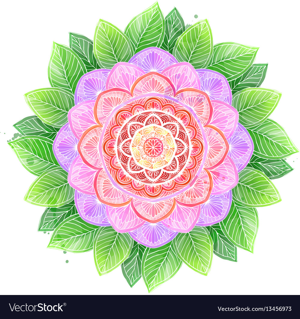 Watercolor flower abstract mandala