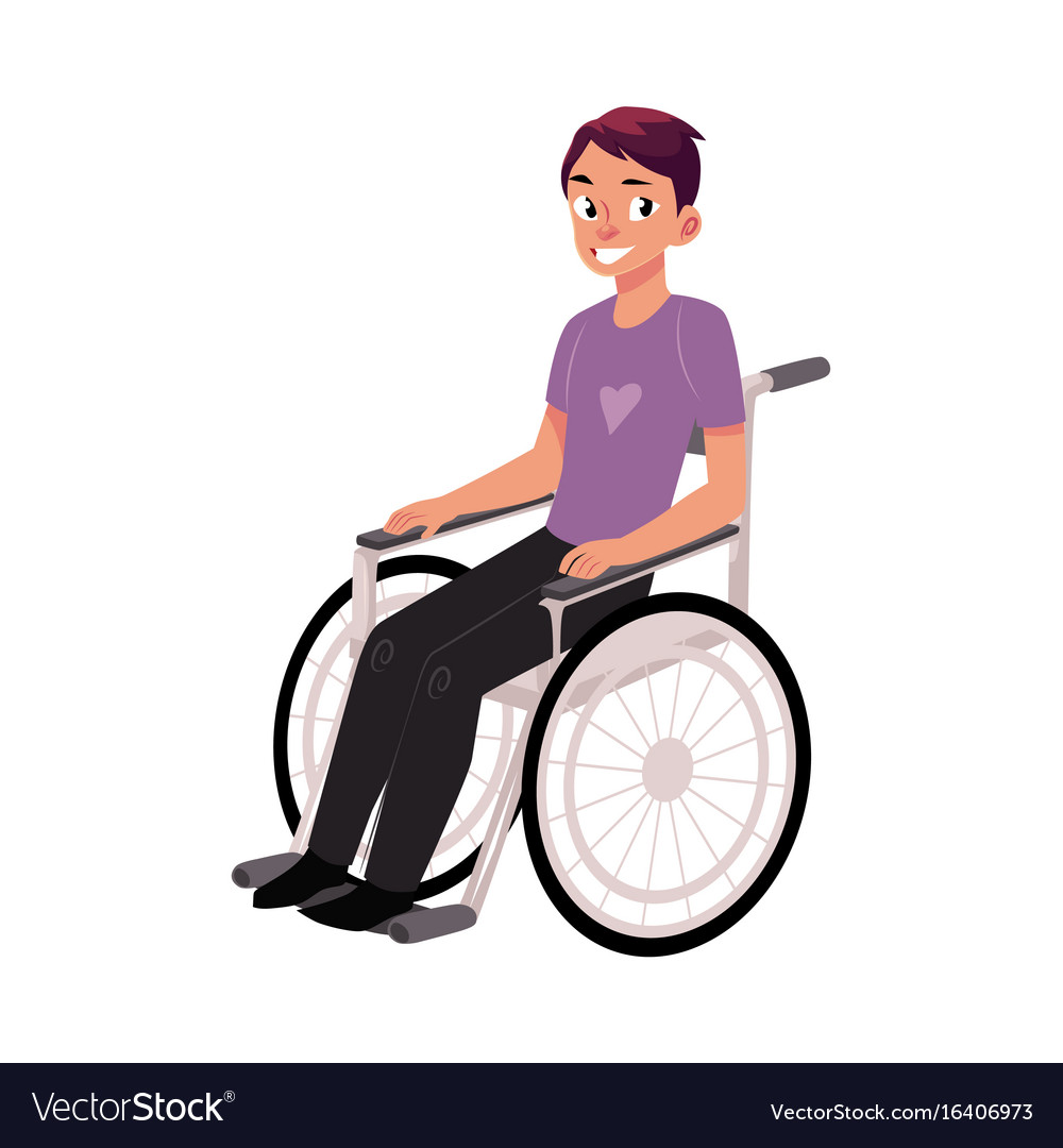young man sitting in wheelchair rehabilitation vector image