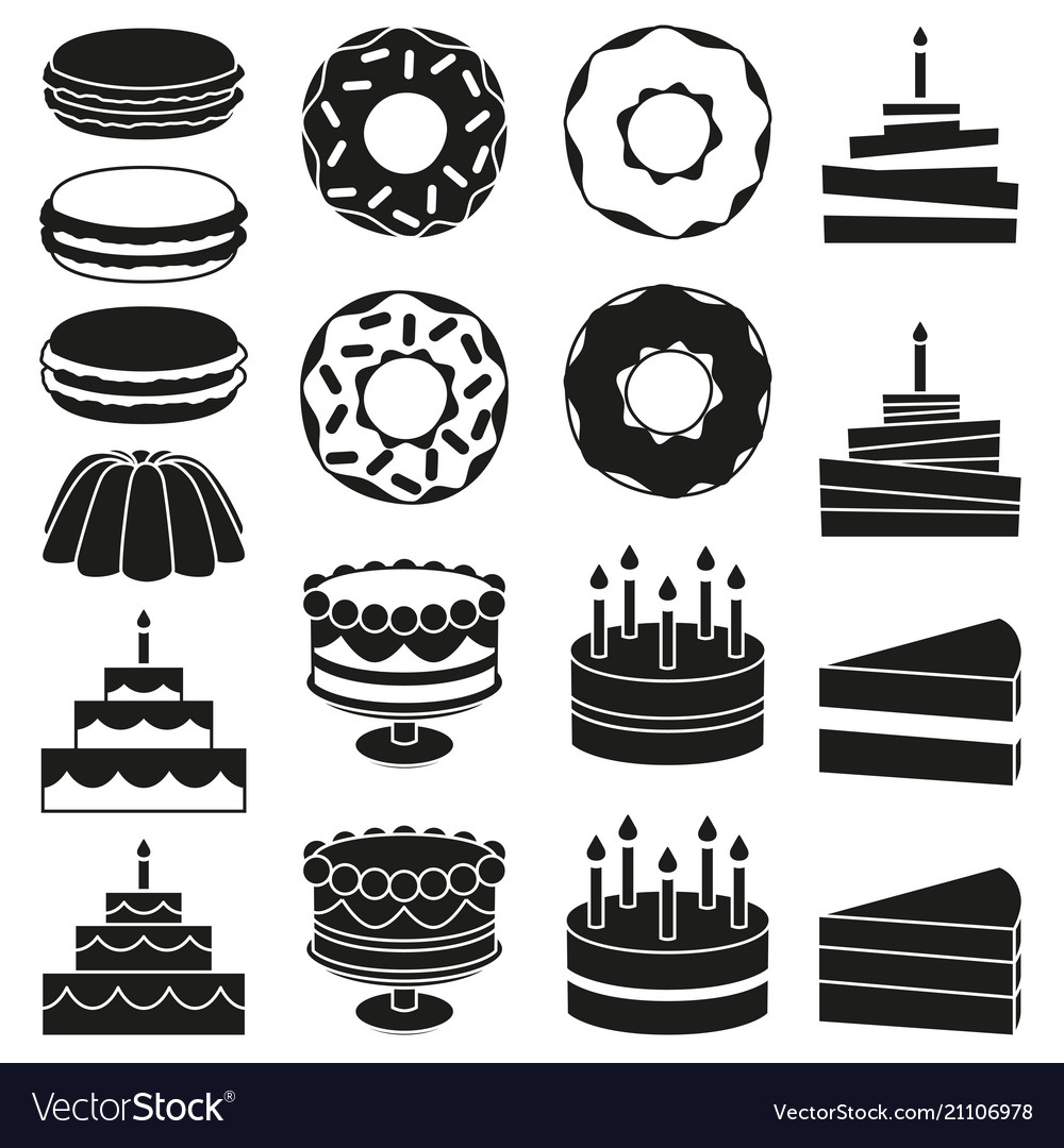Black and white 18 dessert icon silhouette set