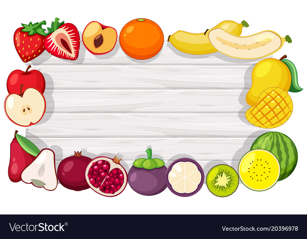 Fruit Templates | Border Template With Tropical Fruits Royalty Free Vector