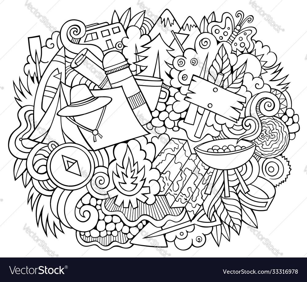 Camp hand drawn cartoon doodles