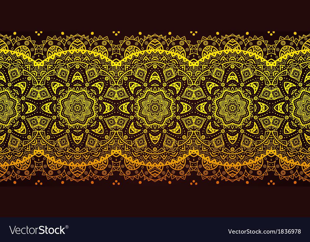 Decorative golden lace stripe pattern on black