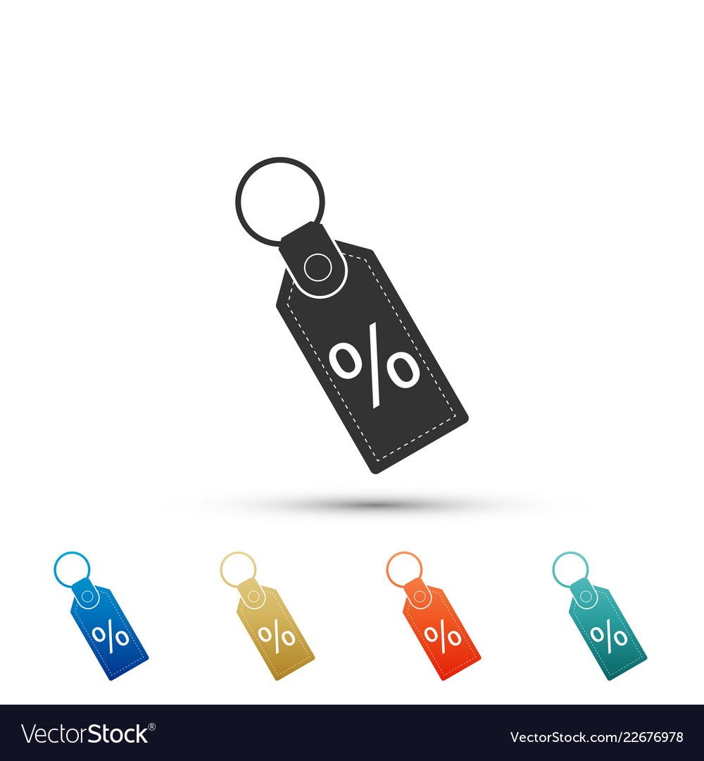 Discount percent tag icon on white background