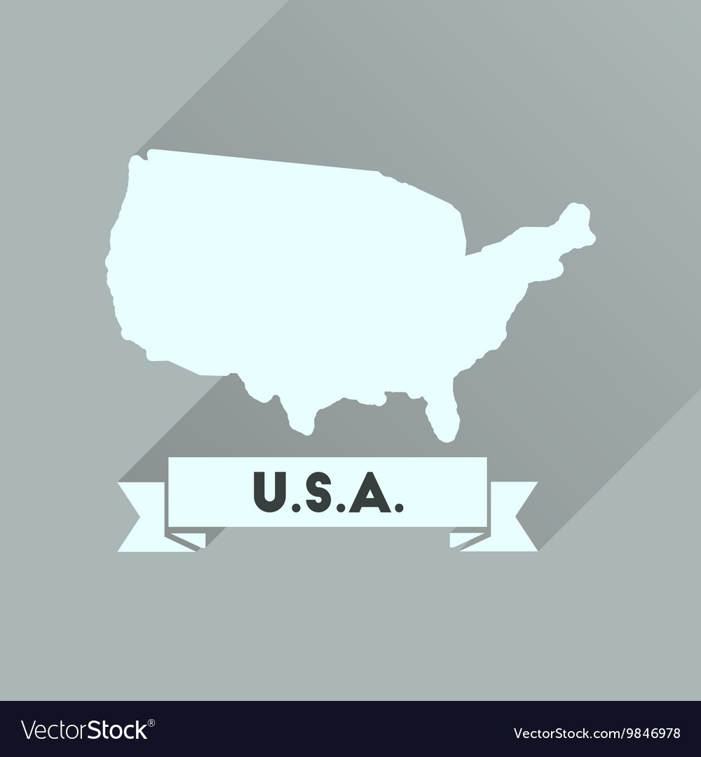 Flat Icon With Long Shadow United States Map Vector Image - Us-flat-map