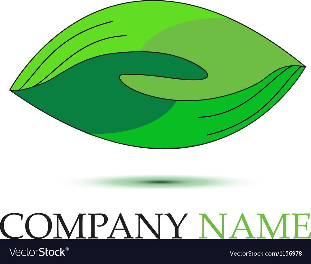 Green handshaking logo vector image