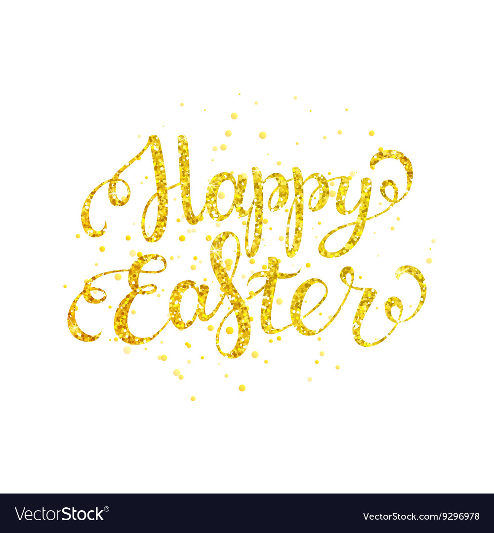 Happy easter gold lettering