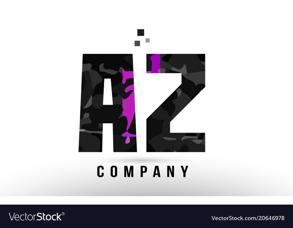 purple black alphabet letter az a z logo vector image