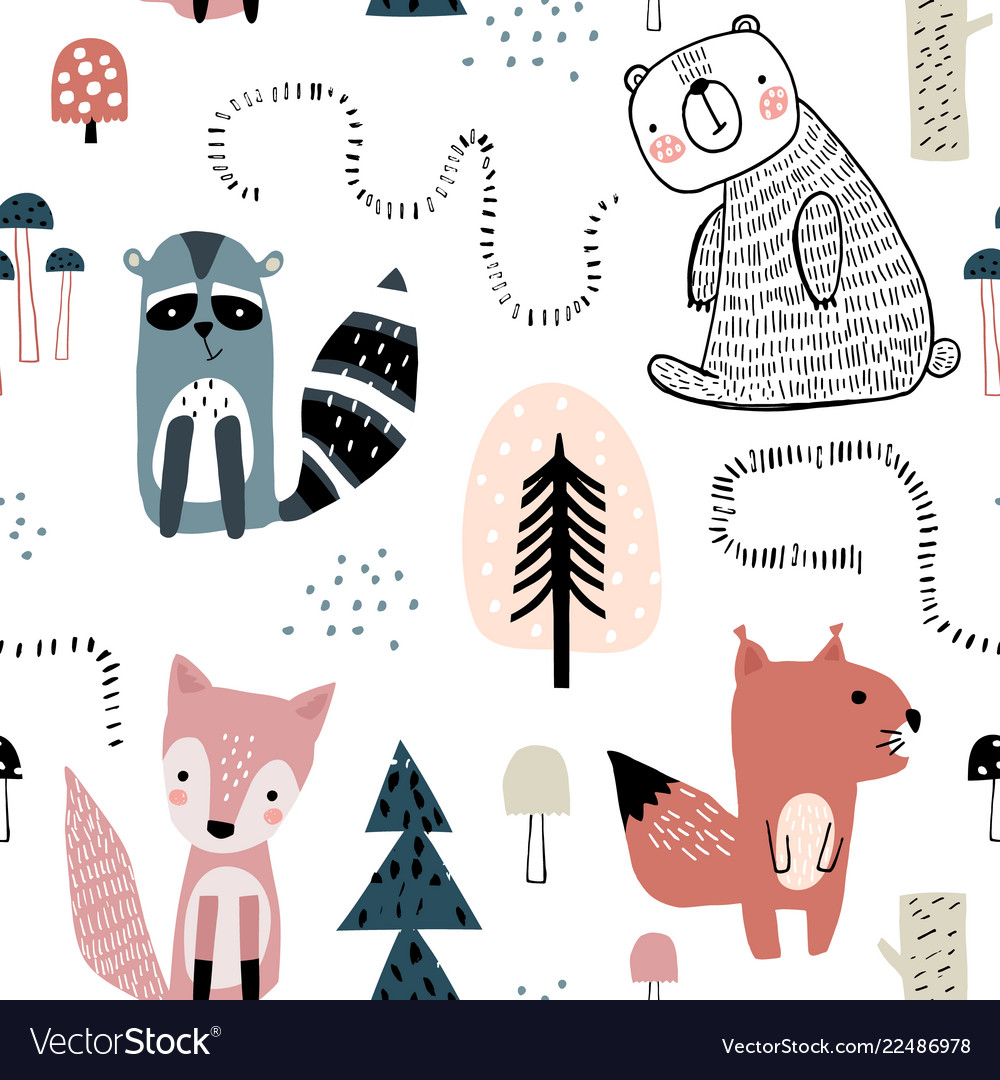 Semless woodland pattern with cute characters and