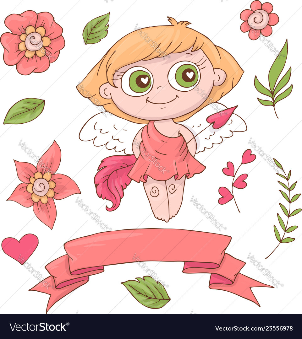 Set cute cartoon angels for valentine s day