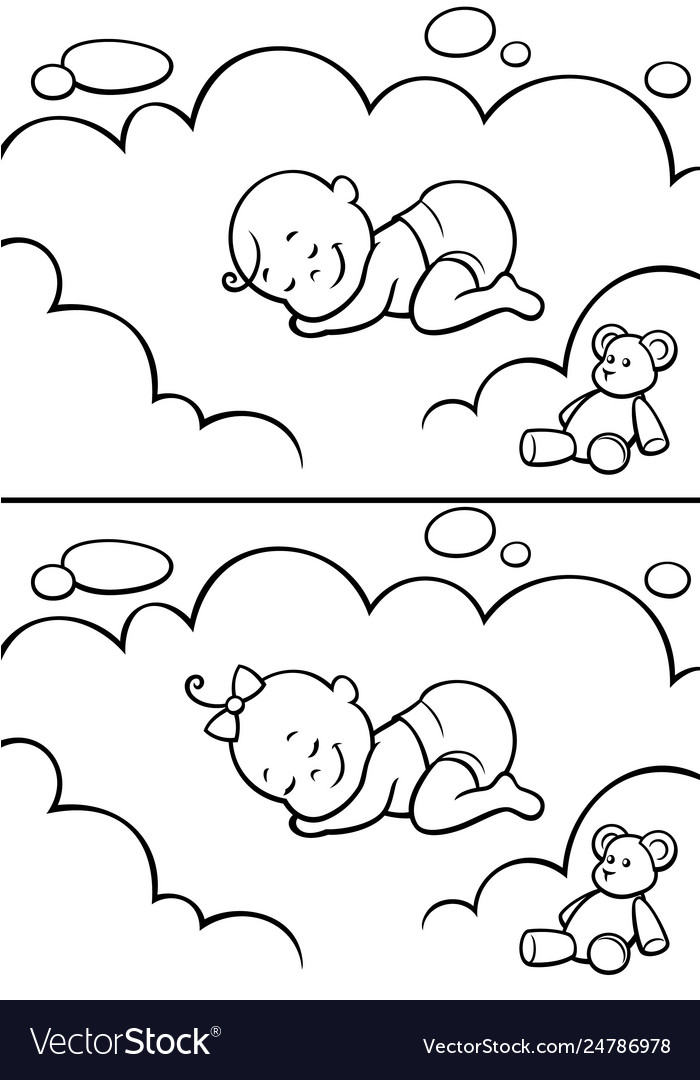 Sleeping bain diapers line art