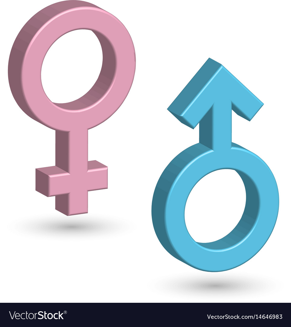 3d male and female symbols in blue and pink color