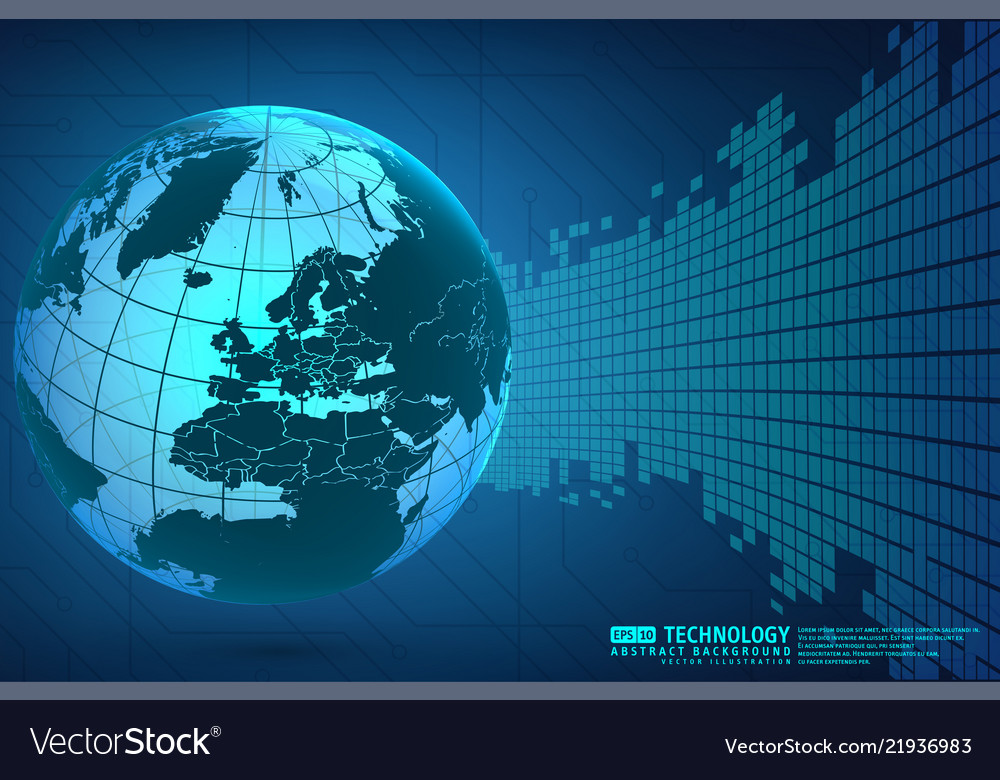 Abstract technology background with world globe