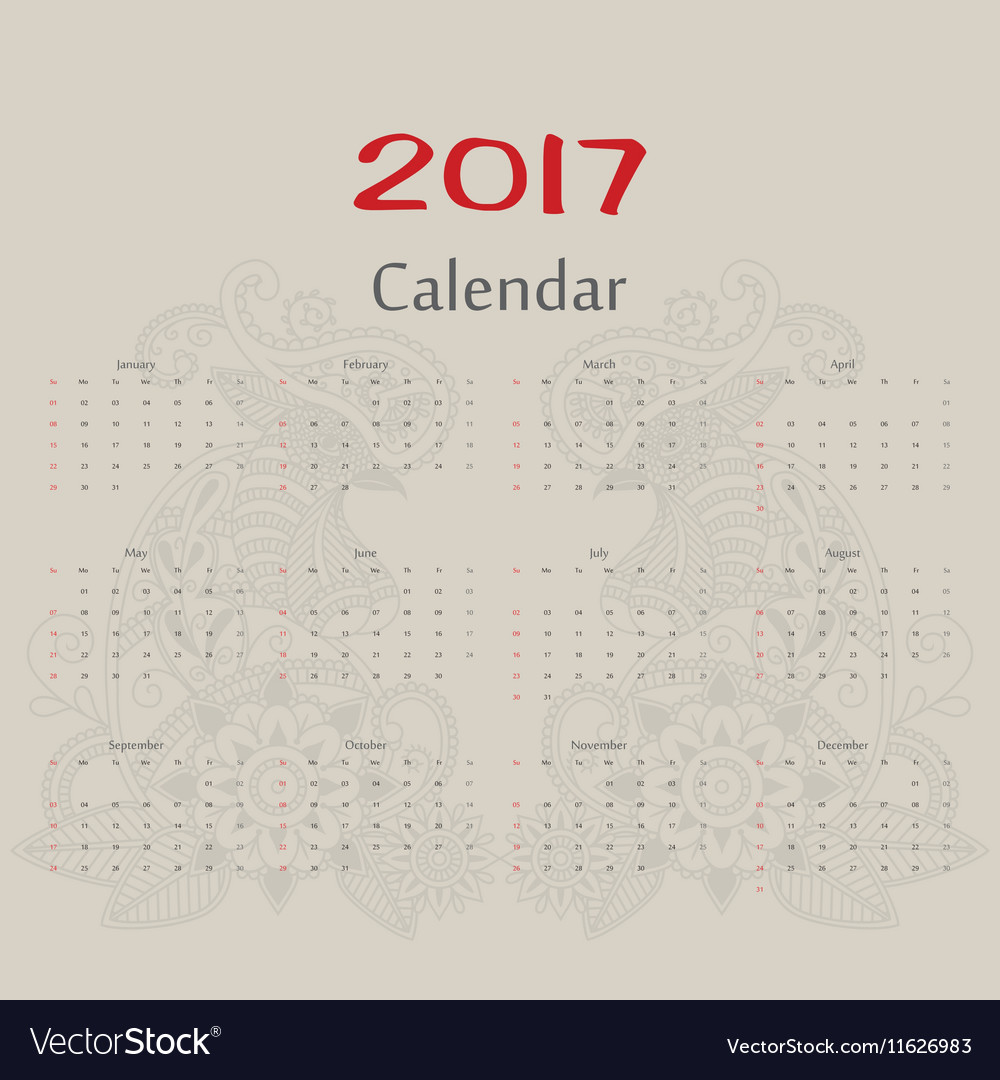 Calendar Two roosters usa format