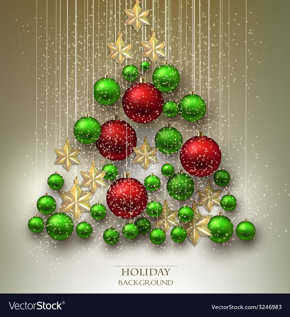 Christmas background with balls Xmas tree made