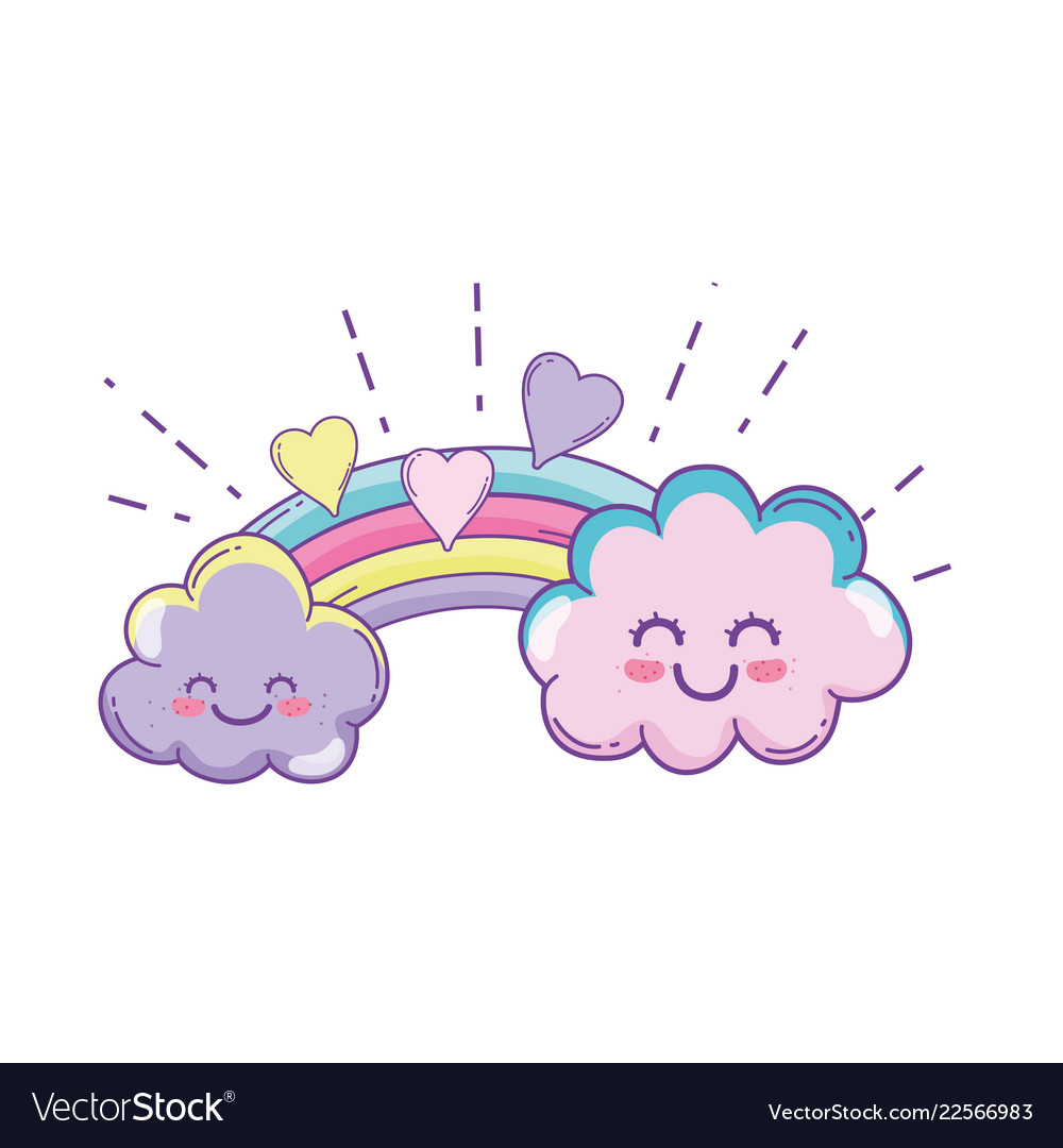 Clouds And Rainbow Cute Cartoon Royalty Free Vector Image Your cute stock images are ready. vectorstock