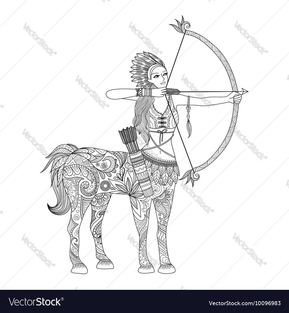Doodle design of centaur girl for adult coloring b