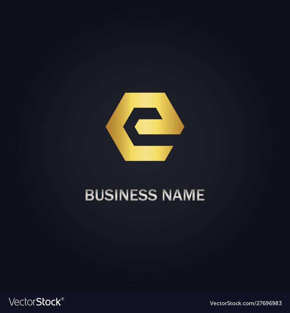 E initial gold logo