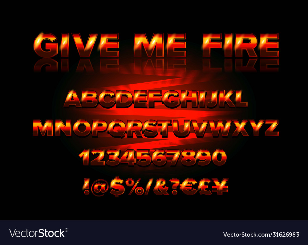 Fire burning latin alphabet font