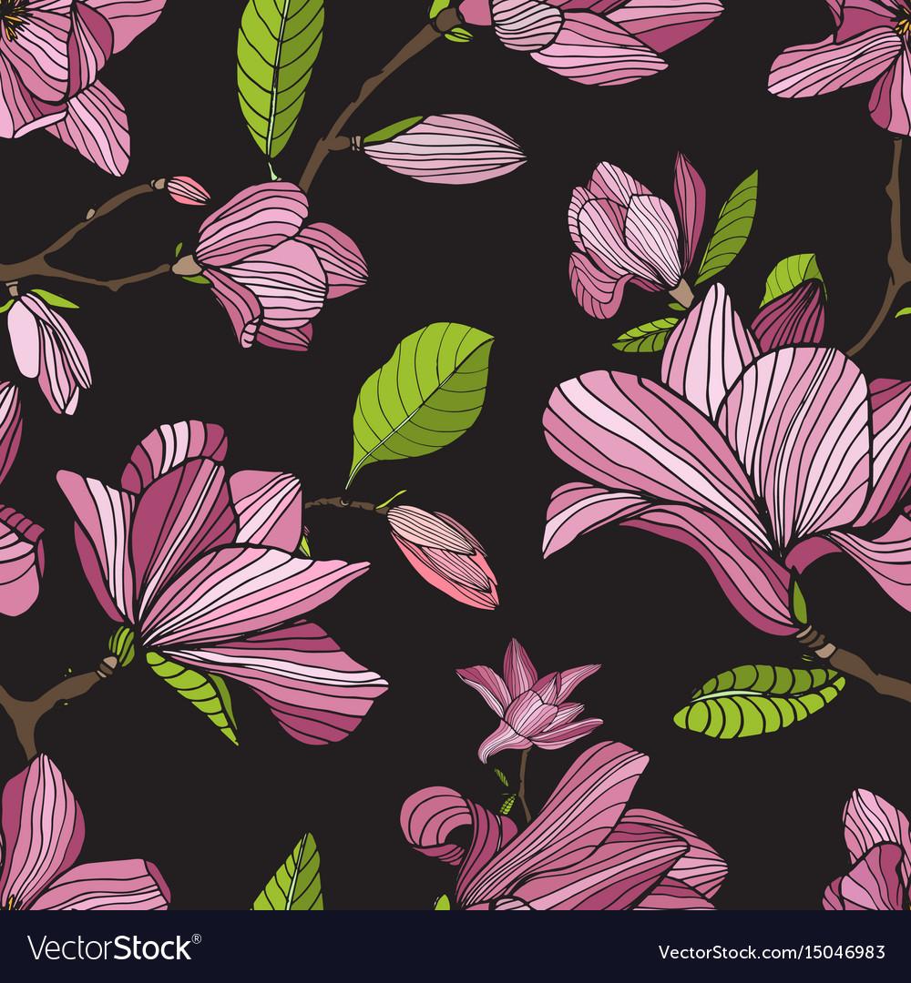 Flowering Magnolia Pink Color On Dark Background Vector Image