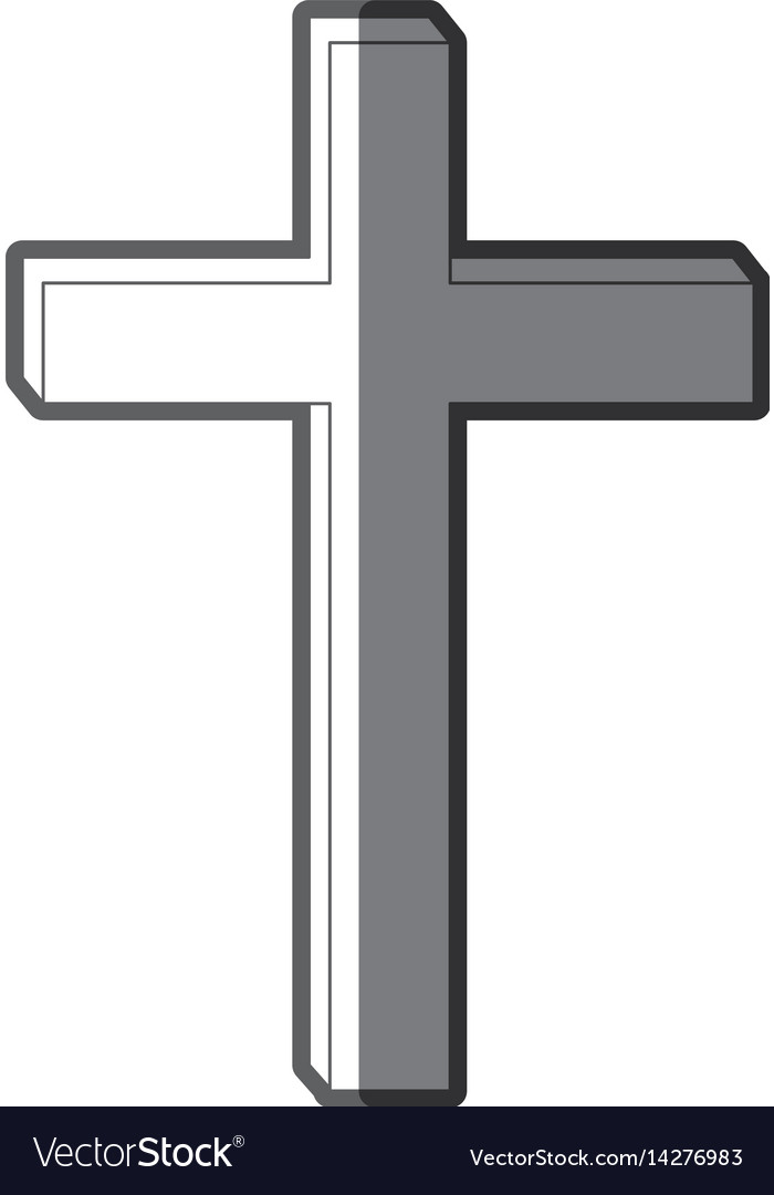 Grayscale silhouette of wooden cross vector image