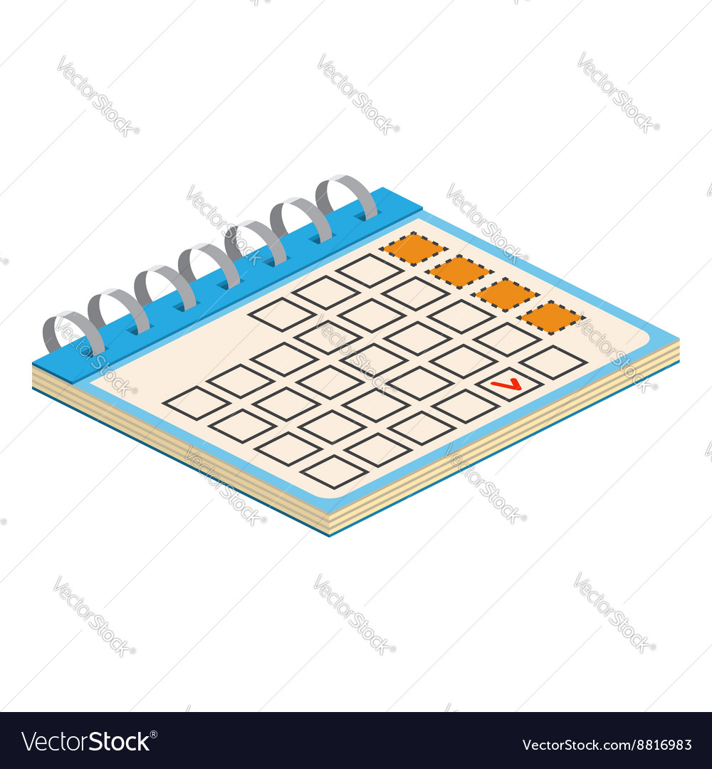 Isometric Calendar Icon For web design and